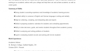 Sample Resume for Academic Advisor Position Academic Advisor Resume