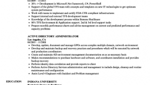 Sample Resume for Active Directory Administrator Active Directory Administrator Resume Samples