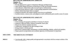 Sample Resume for Administrative assistant In Real Estate Sample Resume Administrative assistant Real Estate Fice