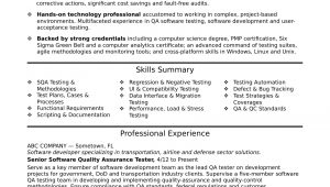 Sample Resume for An Experienced Qa software Tester Experienced Qa software Tester Resume Sample