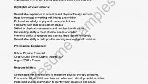 Sample Resume for Applying to Physical therapy School Resume Samples School Physical therapist Resume
