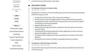 Sample Resume for Automobile Sales Executive Car Salesman Resume & Writing Guide  17 Resume Templates 2021