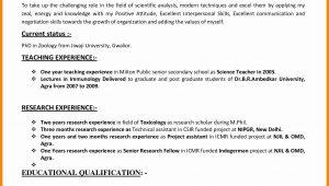 Sample Resume for B Ed Teachers Resume Template for Teaching Lovely 10 Cv format Teachers Job …