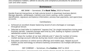 Sample Resume for Bank Teller with Experience Bank Teller Resume Sample Monster.com