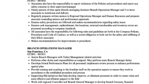 Sample Resume for Branch Operations Manager Branch Operations Manager Resume Samples