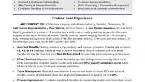 Sample Resume for Call Center Agent with Experience Call Center Resume Sample