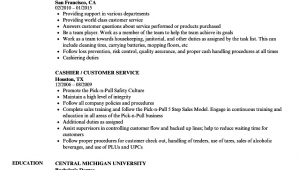 Sample Resume for Cashier and Customer Service Cashier Customer Service Resume