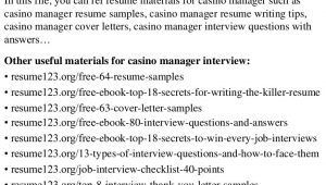 Sample Resume for Casino Pit Supervisor top 8 Casino Manager Resume Samples