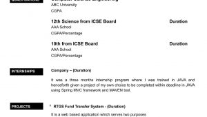 Sample Resume for Computer Science Engineering Students Freshers Computer Science Undergraduate Resume Elegant Cv for Freshers In …