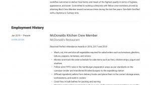 Sample Resume for Crew Member at Mcdonalds Mcdonalds Crew Member Resume & Writing Guide