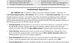 Sample Resume for Customer Service Representative Call Center Call Center Resume Sample