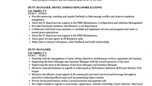 Sample Resume for Duty Manager Position Duty Manager Resume Samples
