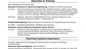 Sample Resume for Electrical and Electronics Engineer Sample Resume for A Midlevel Electrical Engineer