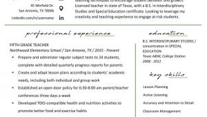 Sample Resume for Elementary Education Teacher Elementary Teacher Resume Samples & Writing Guide