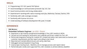 Sample Resume for Embedded software Engineer Embedded software Engineer Resume Sample Resumekraft