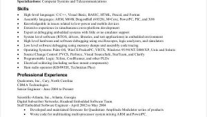 Sample Resume for Embedded software Engineer Fresher Good Best Resume format for Freshers software Engineers