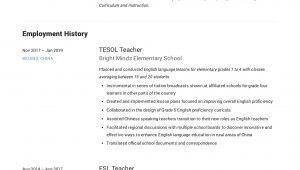 Sample Resume for Esl Teaching Job Esl Teacher Resume Sample & Writing Guide