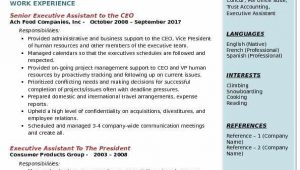 Sample Resume for Executive assistant to President Executive assistant to the Ceo Resume Samples