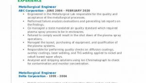 Sample Resume for Experienced Metallurgical Engineer Metallurgical Engineer Resume Samples