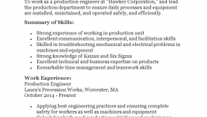 Sample Resume for Experienced Production Engineer Pdf Production Engineering Resume