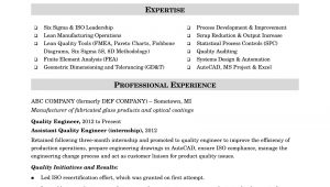 Sample Resume for Experienced Quality Control Engineer Sample Resume for A Midlevel Quality Engineer