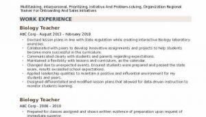 Sample Resume for Lecturer In Biology Biology Teacher Resume Samples