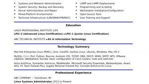Sample Resume for Linux System Administrator Fresher Sample Resume for A Midlevel Systems Administrator