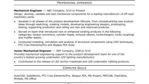 Sample Resume for Mechanical Engineer In Construction Sample Resume for A Midlevel Mechanical Engineer