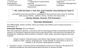 Sample Resume for Pre Primary School Teacher Preschool Teacher Resume Sample Monster.com