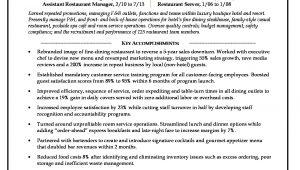 Sample Resume for Restaurant Manager Position Restaurant Manager Resume Sample Monster.com
