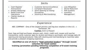 Sample Resume for Retail Sales Clerk Cashier Resume Sample Monster.com