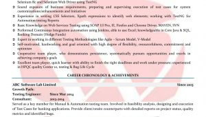 Sample Resume for Selenium Automation Tester Fresher Selenium Sample Resumes, Download Resume format Templates!
