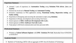 Sample Resume for software Test Engineer Fresher software Testing Resume for Freshers