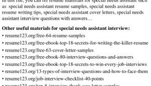 Sample Resume for Special Needs assistant top 8 Special Needs assistant Resume Samples