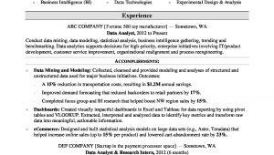 Sample Resume for Statistical Data Analyst Data Analyst Resume Sample Monster.com