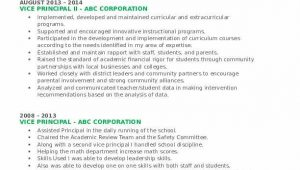 Sample Resume for Vice Principal In India Vice Principal Resume Samples