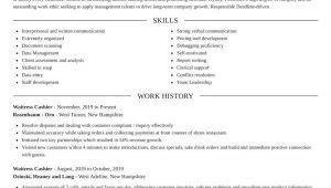 Sample Resume for Waitress and Cashier Waitress Cashier Resumes