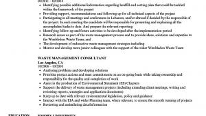 Sample Resume for Waste Management Job Waste Management Consultant Resume Samples