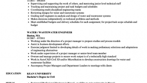Sample Resume for Water Treatment Engineer Water Resource Engineer Cv July 2020