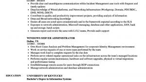 Sample Resume for Windows Server Administrator Fresher Senior Windows System Administrator Resume