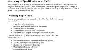Sample Resume Objectives for Teachers Aide Teacher assistant Resume Objective Free Resume Templates …