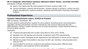 Sample Resume Strong Analytical Skills Example Sample Resume for An Entry-level Systems Administrator Monster.com