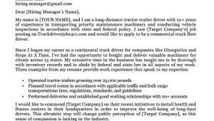 Sample Truck Driver Resume Cover Letter Truck Driver Cover Letter Sample