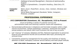 Samples Of Resumes for Receptionist Position Receptionist Resume Sample