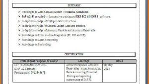 Sap Fico End User Resume Sample for Freshers Sap End User Resume Fico Resume Resume Examples