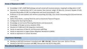 Sap Fico Sample Resume 3 Years Experience Sap Fico Resume Sample Resume Sample
