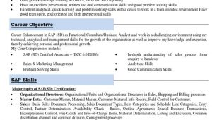 Sap Sd Sample Resume for Fresher Sap Sd Freshers Resume with Domain Experience Sales