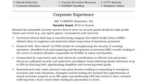 Security Officer Resume Examples and Samples Security Guard Resume Sample