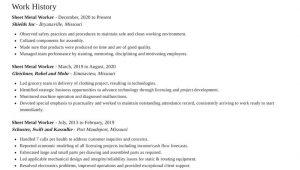 Sheet Metal Production Engineer Resume Sample Sheet Metal Worker Resumes